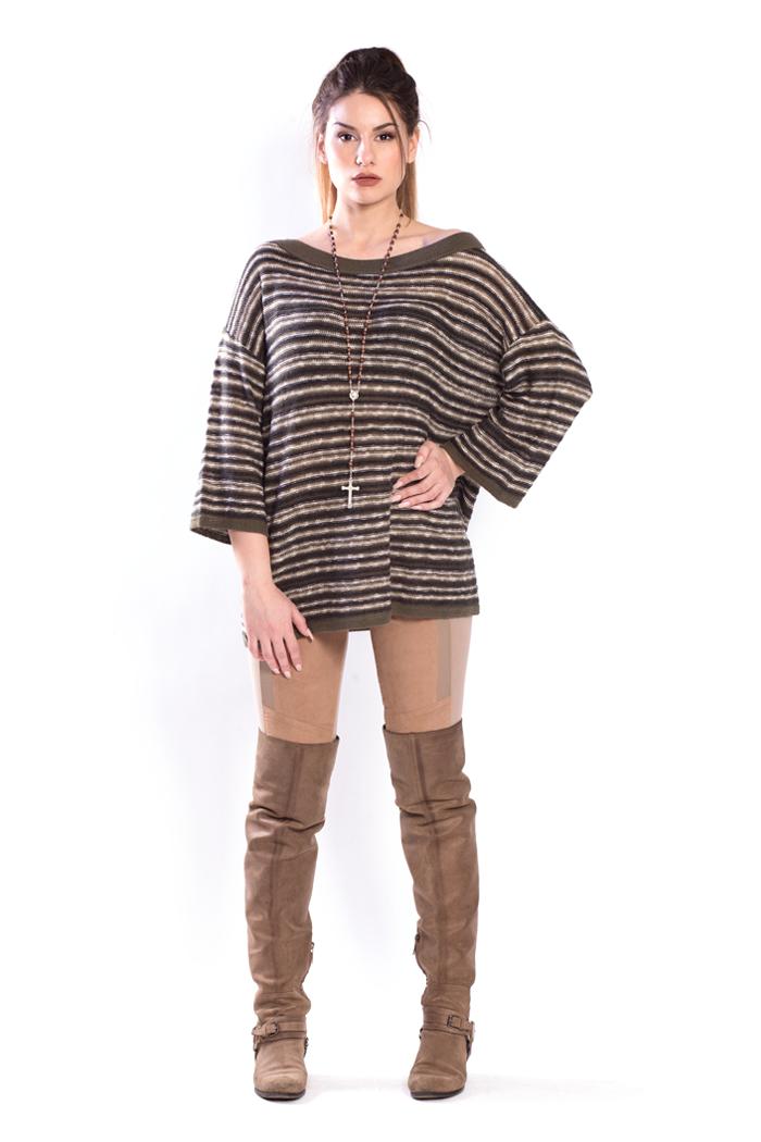 Multiyarn Stripes Oversized Sweater