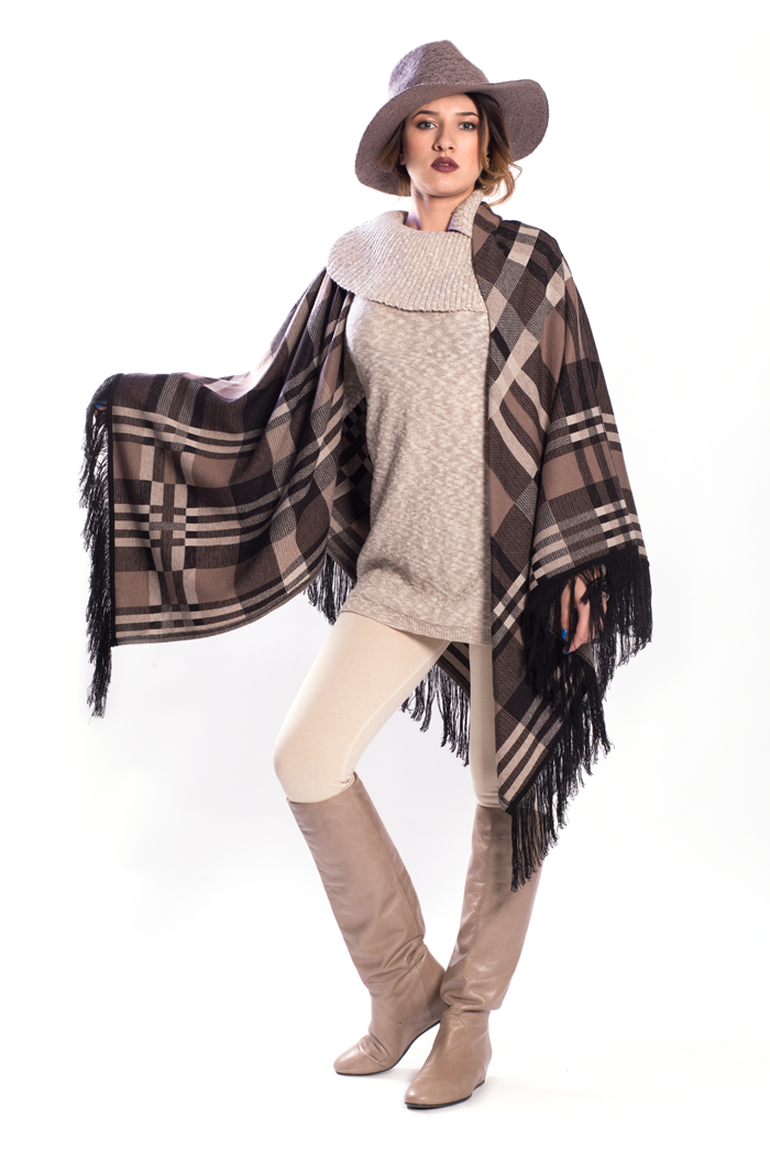 Fringed Jacquard Rhuana with Boucle Sweater and Ponte Leggings