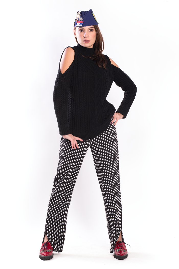 Cold Shoulder Sweater and Jacquard Pants with Side Slits