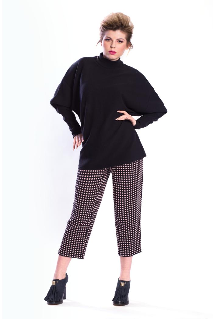 Dolman Sleeve Rib Top and Ankle Length Mini Boxes Jacquard Pants