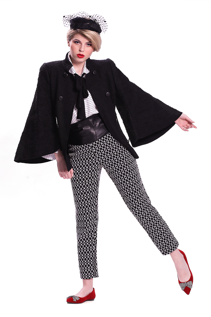Bell Sleeve Double Breasted Jacket and Ankle Length Knit Pants