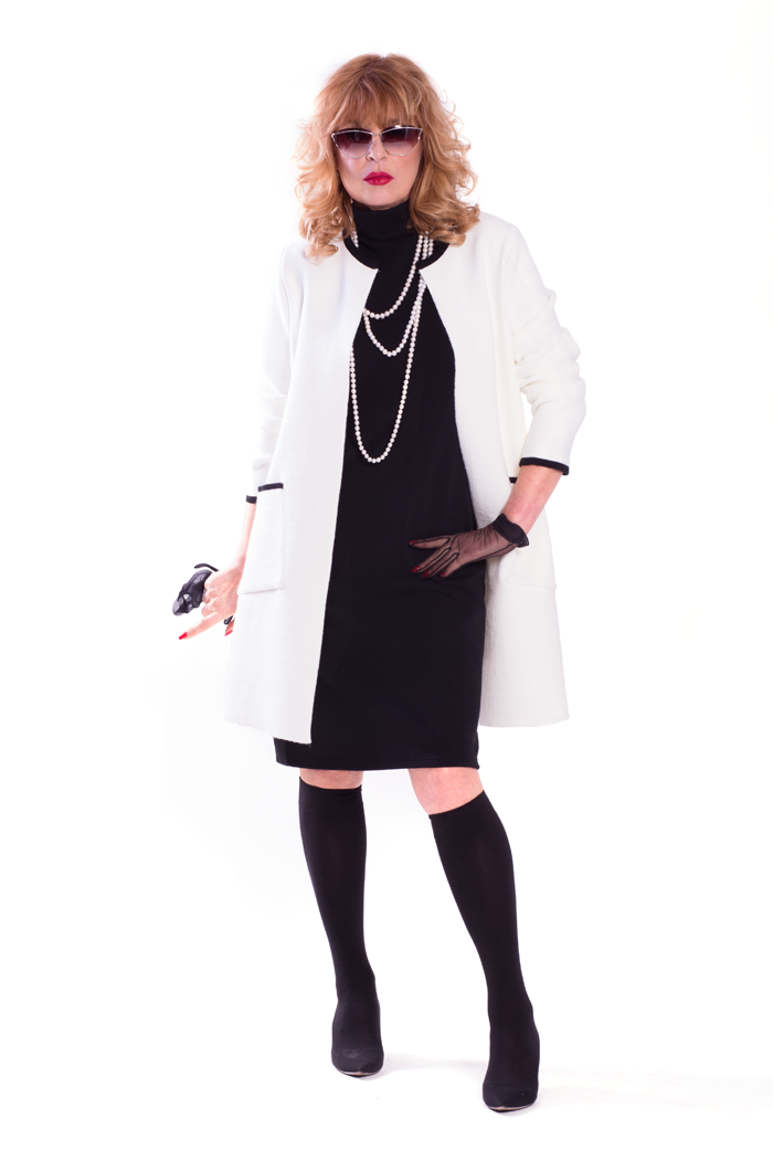 Contrast Trim Cardigan with Pockets and Mock Neck Knit Dress